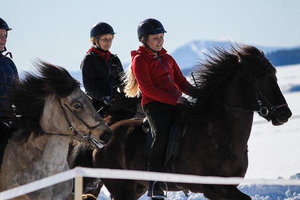Närmast är Frida Dufva och Angilja med Madelene Wickström på Dis bakom och längst bak Marianne Björklund på Sindri  Foto: Diana Nyström/www.dhag.tk