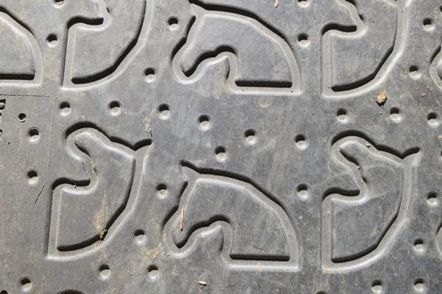 Gummigolvet med hästreliefer.  Foto: Yvonne Benzian/ishestnews.se