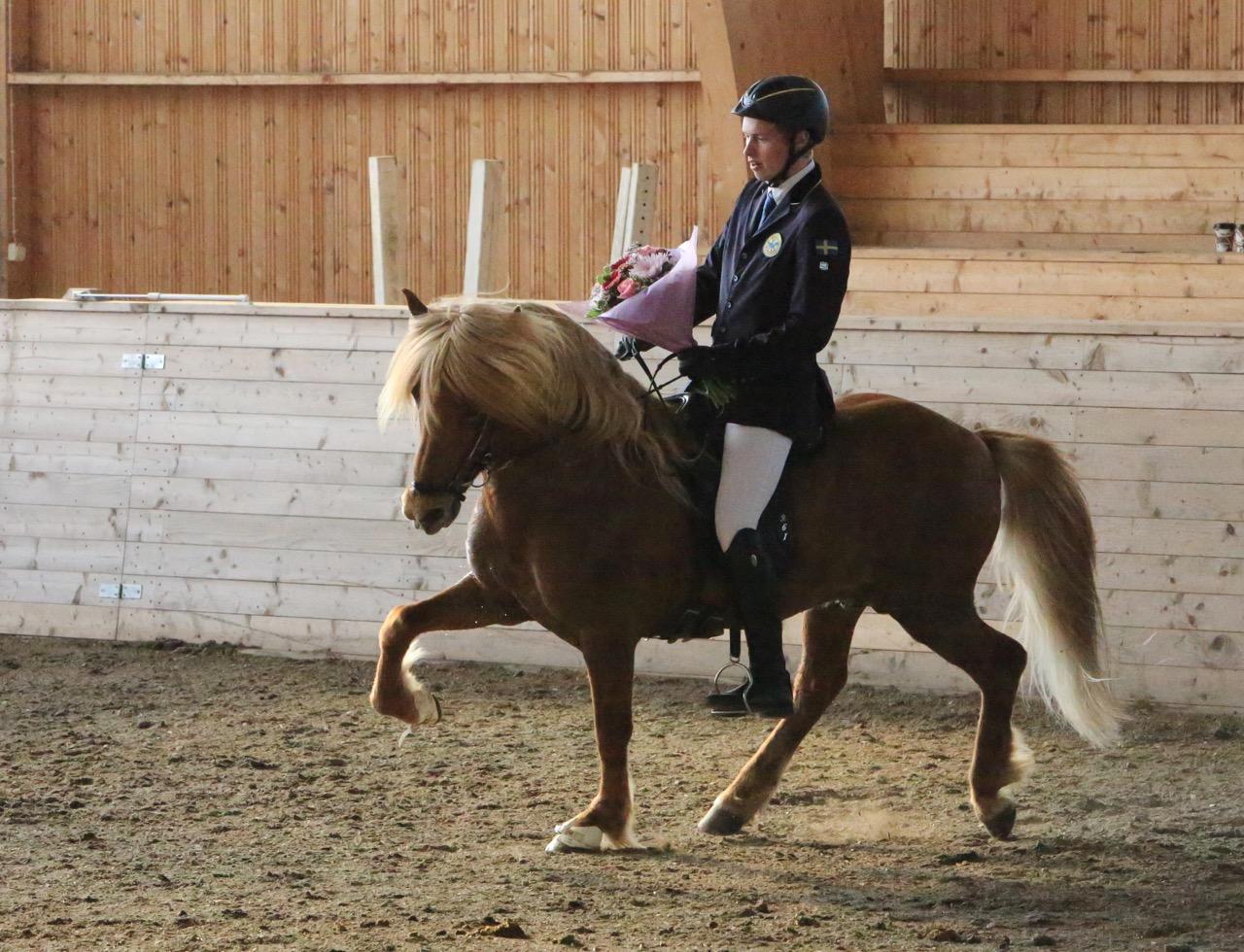 Ung världsmästare, Pierre Sandsten Hoyos, här på Geisli frá Svanavatni Foto: Ishestnews.se