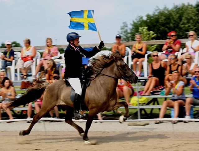 Här viftar svenska flaggan för en silvermedalj. Foto: Yvonne Benzian/ishestnews.se